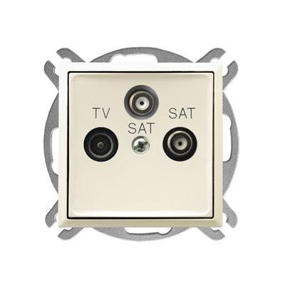 Gniazdo RTV-SAT z dwoma wyjściami SAT ARIA ECRU