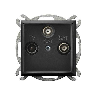 Gniazdo RTV-SAT z dwoma wyjściami SAT ARIA CZARNY METALIK