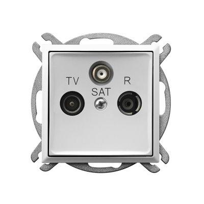 Gniazdo RTV-SAT przelotowe ARIA BIAŁY