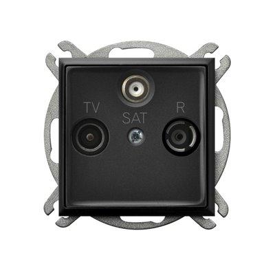 Gniazdo RTV-SAT przelotowe ARIA CZARNY METALIK