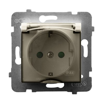 Gniazdo bryzgoszczelne z uziemieniem schuko IP-44 wieczko przezroczyste z przesłonami torów prądowych ARIA ECRU