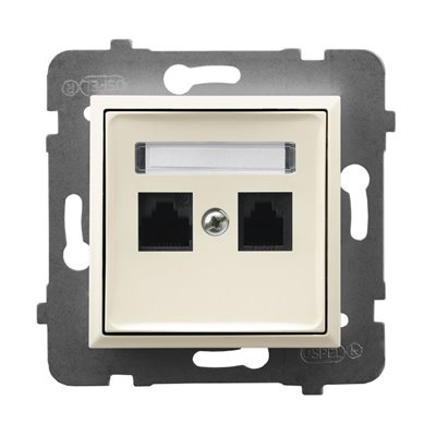 Gniazdo komputerowe podwójne, kat. 5e MMC ARIA ECRU