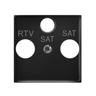 Pokrywa gniazda RTV-SAT z dwoma wyjściami SAT ARIA (elementy) CZARNY METALIK