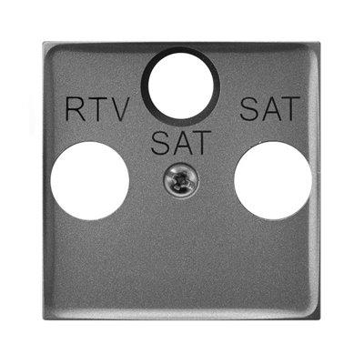 Pokrywa gniazda RTV-SAT z dwoma wyjściami SAT ARIA (elementy) SZARY MAT