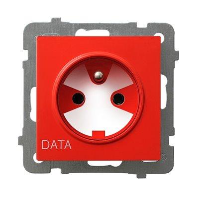 Gniazdo pojedyncze z uziemieniem DATA z kluczem uprawniającym AS BIAŁY