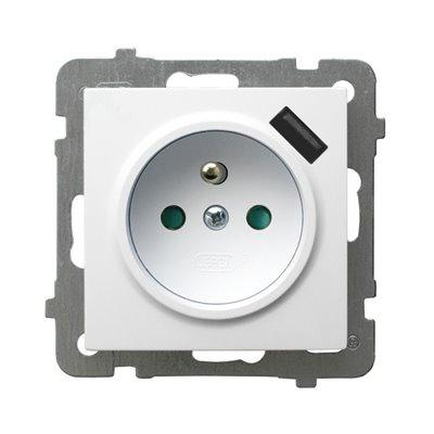 Gniazdo pojedyncze z uziemieniem z przesłonami torów prądowych, z ładowarką USB AS BIAŁY