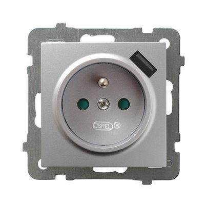 Gniazdo pojedyncze z uziemieniem z przesłonami torów prądowych, z ładowarką USB AS SREBRO