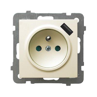 Gniazdo pojedyncze z uziemieniem z przesłonami torów prądowych, z ładowarką USB AS ECRU