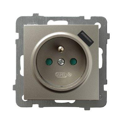 Gniazdo pojedyncze z uziemieniem z przesłonami torów prądowych, z ładowarką USB AS SATYNA LIGHT