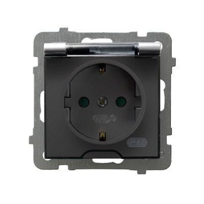 Gniazdo bryzgoszczelne z uziemieniem schuko IP-44 z przesłonami torów prądowych wieczko przezroczyste AS SREBRO