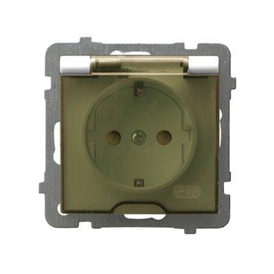 Gniazdo bryzgoszczelne z uziemieniem schuko IP-44 z przesłonami torów prądowych wieczko przezroczyste AS ECRU