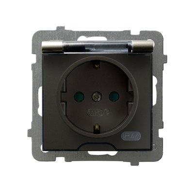 Gniazdo bryzgoszczelne z uziemieniem schuko IP-44 z przesłonami torów prądowych wieczko przezroczyste AS SATYNA LIGHT