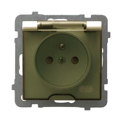 Gniazdo bryzgoszczelne z uziemieniem IP-44 z przesłonami torów prądowych wieczko przezroczyste AS ECRU