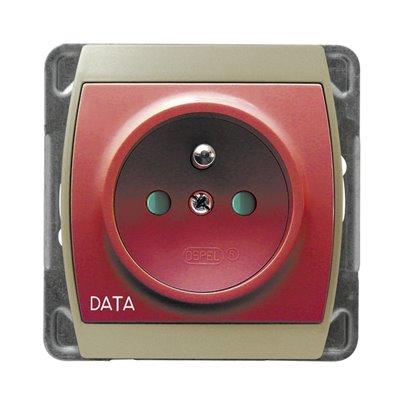 Gniazdo pojedyncze z uziemieniem DATA z przesłonami torów prądowych GAZELA SATYNA/SATYNA