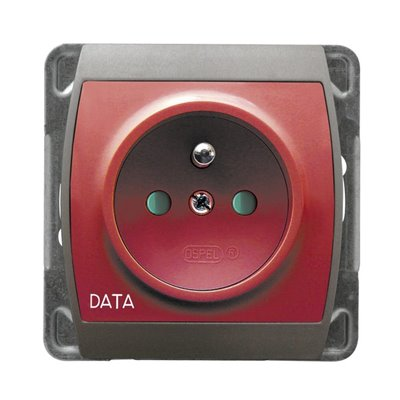 Gniazdo pojedyncze z uziemieniem DATA z przesłonami torów prądowych GAZELA SREBRO/TYTAN