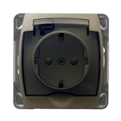 Gniazdo bryzgoszczelne z uziemieniem schuko IP-44 z przesłonami torów prądowych wieczko przezroczyste GAZELA SATYNA/SATYNA