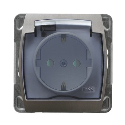Gniazdo bryzgoszczelne z uziemieniem schuko IP-44 z przesłonami torów prądowych wieczko przezroczyste GAZELA SREBRO/TYTAN