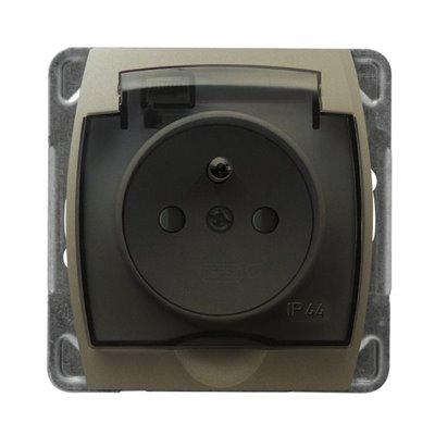 Gniazdo bryzgoszczelne z uziemieniem IP-44 z przesłonami torów prądowych wieczko przezroczyste GAZELA SATYNA/SATYNA
