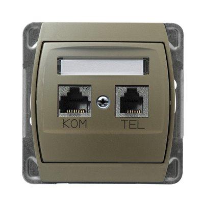 Gniazdo komputerowo-telefoniczne RJ 45 kat. 5e, (8-stykowe) + RJ 11 (6-stykowe) GAZELA SATYNA/SATYNA