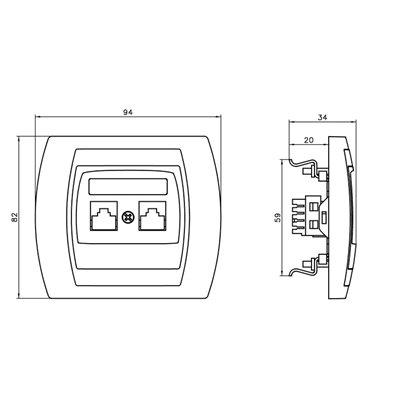 Gniazdo komputerowo-telefoniczne RJ 45 kat. 5e, (8-stykowe) + RJ 11 (6-stykowe) GAZELA SREBRO/TYTAN