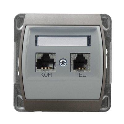 Gniazdo komputerowo-telefoniczne, kat. 6 MMC GAZELA SREBRO/TYTAN