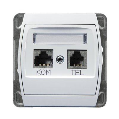 Gniazdo komputerowo-telefoniczne, kat. 6 ekranowane MMC GAZELA BIAŁY