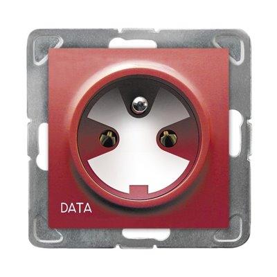 Gniazdo pojedyncze z uziemieniem DATA z kluczem uprawniającym IMPRESJA BIAŁY