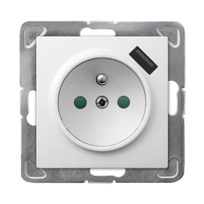 Gniazdo pojedyncze z uziemieniem z przesłonami torów prądowych, z ładowarką USB IMPRESJA BIAŁY