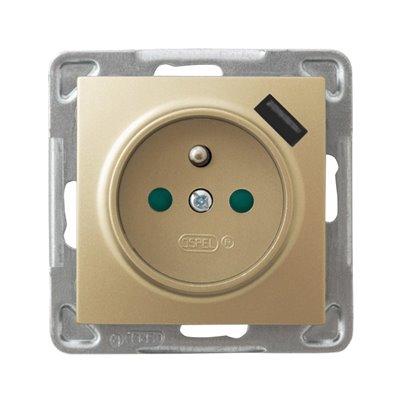Gniazdo pojedyncze z uziemieniem z przesłonami torów prądowych, z ładowarką USB IMPRESJA ZŁOTY METALIK