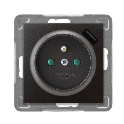 Gniazdo pojedyncze z uziemieniem z przesłonami torów prądowych, z ładowarką USB IMPRESJA ANTRACYT