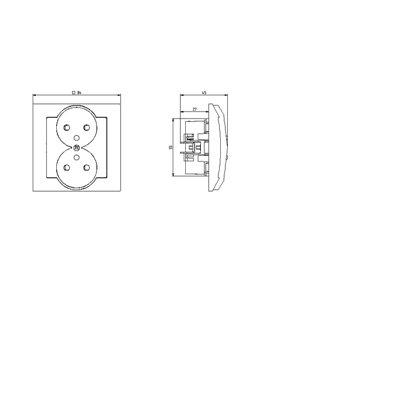 Gniazdo podwójne z uziemieniem z przesłonami torów prądowych, moduł bez ramki IMPRESJA ECRU
