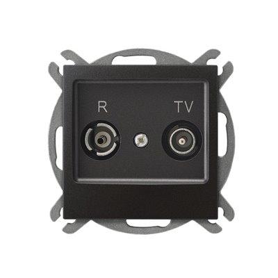 Gniazdo RTV przelotowe 14-dB IMPRESJA ANTRACYT