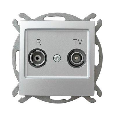 Gniazdo RTV przelotowe 16-dB IMPRESJA SREBRO