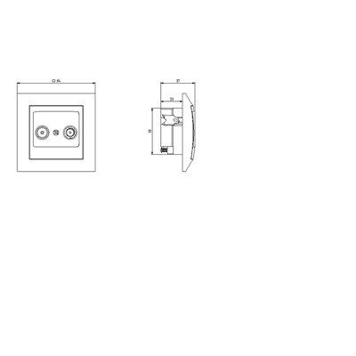 Gniazdo RTV przelotowe 16-dB IMPRESJA ECRU