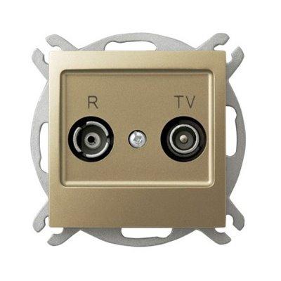 Gniazdo RTV przelotowe 16-dB IMPRESJA ZŁOTY METALIK