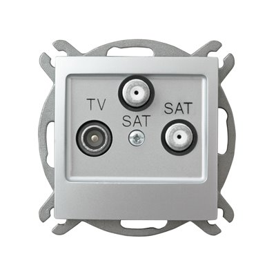 Gniazdo RTV-SAT z dwoma wyjściami SAT IMPRESJA SREBRO