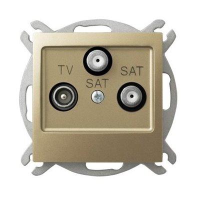 Gniazdo RTV-SAT z dwoma wyjściami SAT IMPRESJA ZŁOTY METALIK