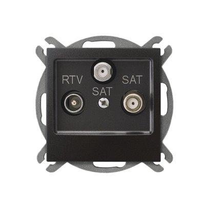 Gniazdo RTV-SAT z dwoma wyjściami SAT IMPRESJA ANTRACYT
