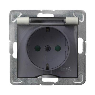 Gniazdo bryzgoszczelne z uziemieniem schuko IP-44 z przesłonami torów prądowych wieczko przezroczyste IMPRESJA ECRU