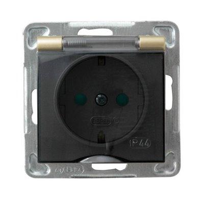 Gniazdo bryzgoszczelne z uziemieniem schuko IP-44 z przesłonami torów prądowych wieczko przezroczyste IMPRESJA ZŁOTY METALIK