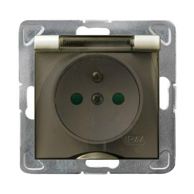 Gniazdo bryzgoszczelne z uziemieniem IP-44 z przesłonami torów prądowych wieczko przezroczyste IMPRESJA ECRU