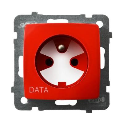 Gniazdo pojedyncze z uziemieniem DATA z kluczem uprawniającym KARO BIAŁY