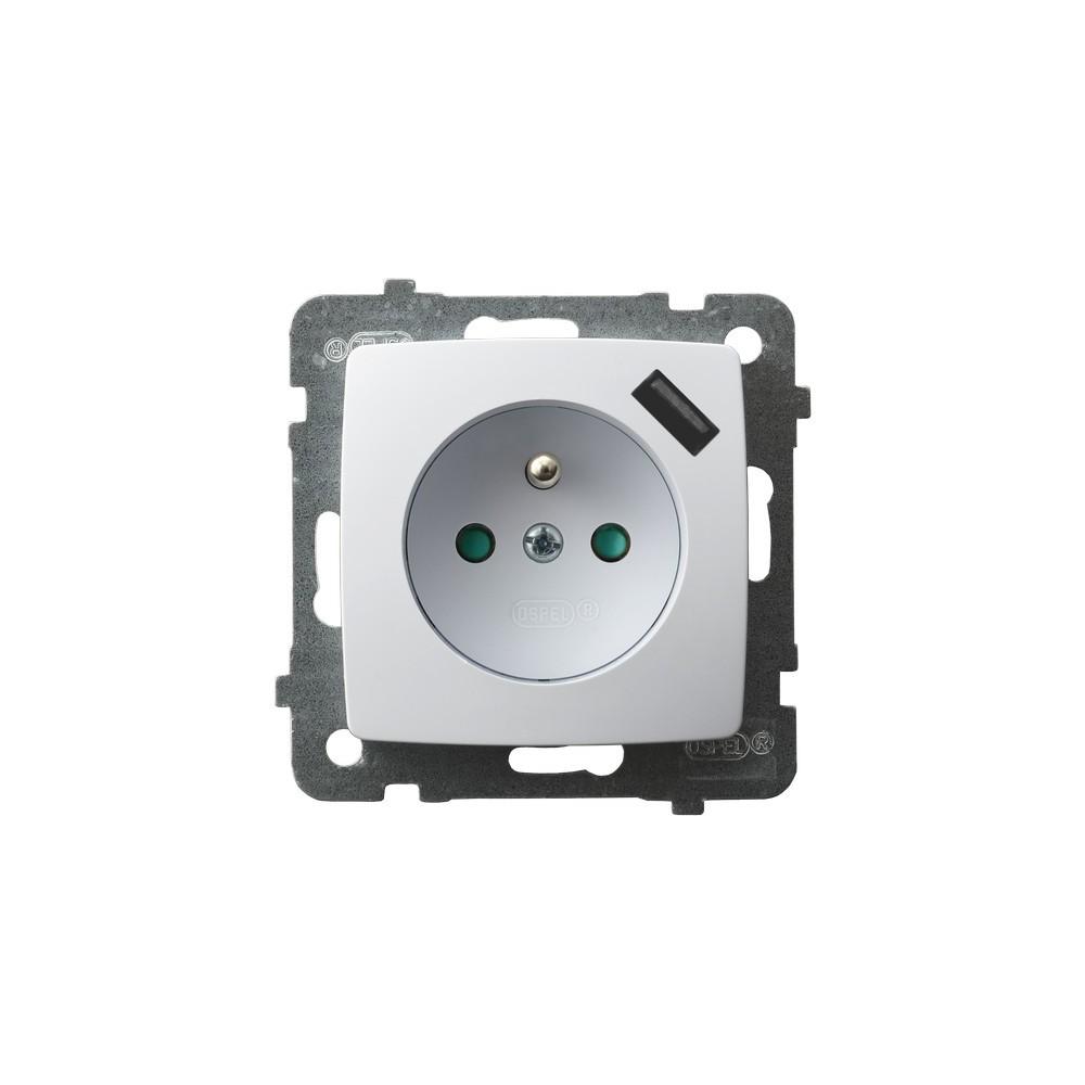 Gniazdo pojedyncze z uziemieniem z przesłonami torów prądowych, z ładowarką USB KARO BIAŁY
