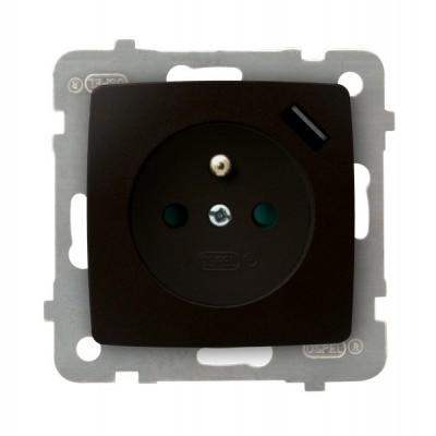 Gniazdo pojedyncze z uziemieniem z przesłonami torów prądowych, z ładowarką USB KARO CZEKOLADOWY METALIK