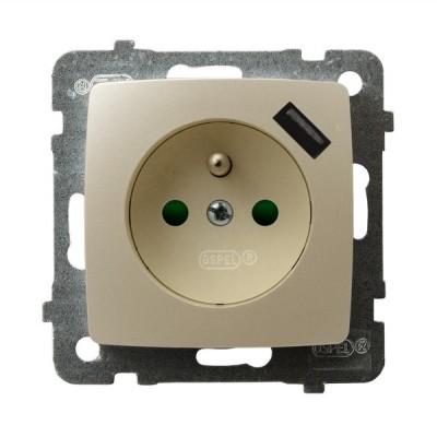 Gniazdo pojedyncze z uziemieniem z przesłonami torów prądowych, z ładowarką USB KARO ECRU PERŁOWY