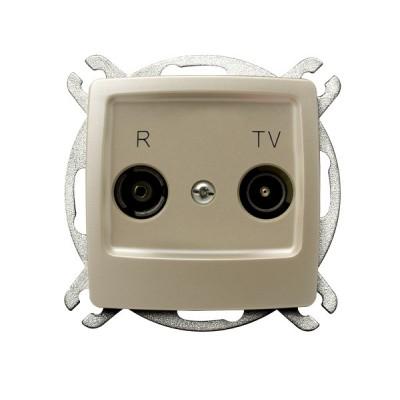 Gniazdo RTV przelotowe 16-dB KARO ECRU PERŁOWY