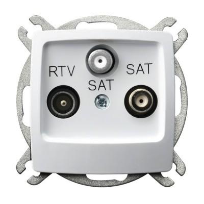 Gniazdo RTV-SAT z dwoma wyjściami SAT KARO BIAŁY
