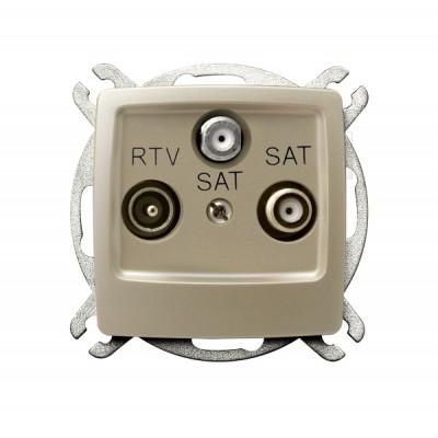 Gniazdo RTV-SAT z dwoma wyjściami SAT KARO ECRU PERŁOWY
