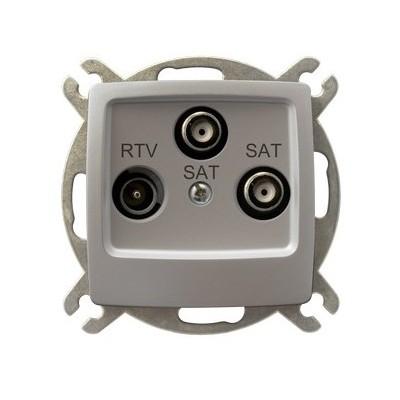 Gniazdo RTV-SAT z dwoma wyjściami SAT KARO SREBRNY PERŁOWY