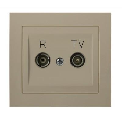Gniazdo RTV przelotowe 16-dB KIER BEŻOWY